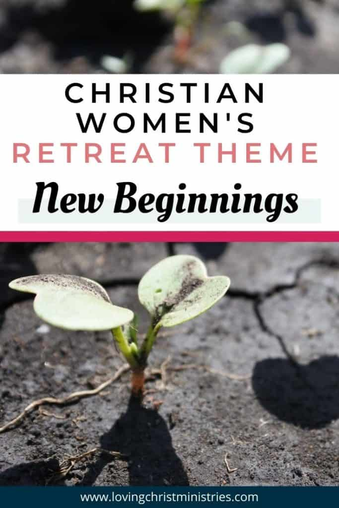 image of sprout with heart shaped leaves growing from crack in sidewalk with title text overlay - New Beginnings Christian Women's Retreat Theme
