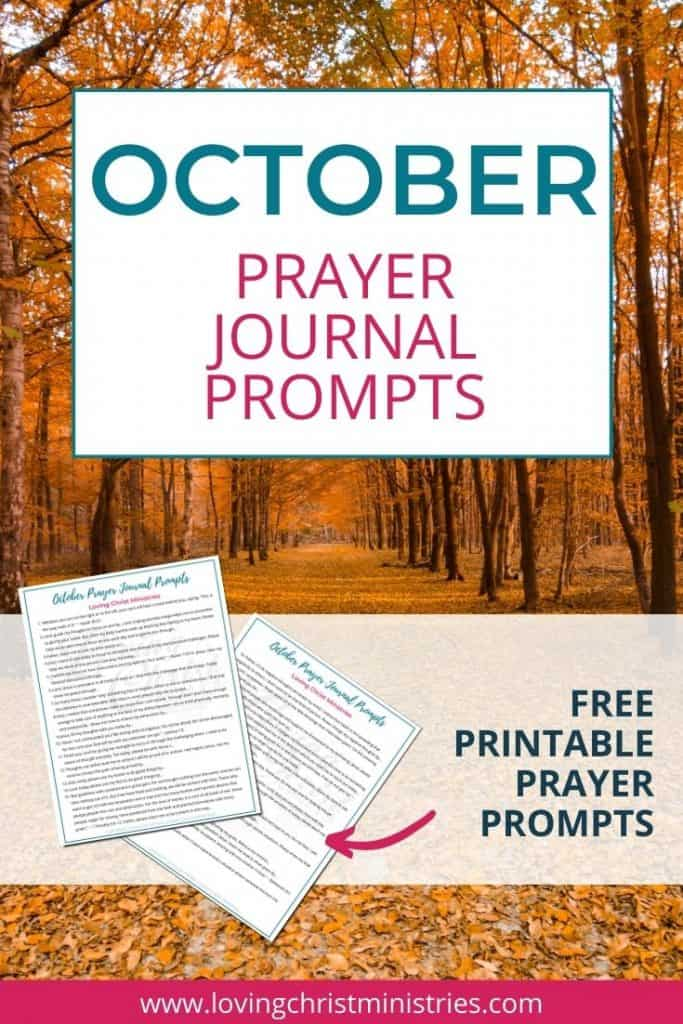 image of fall trees with title text overlay - October Prayer Journal Prompts