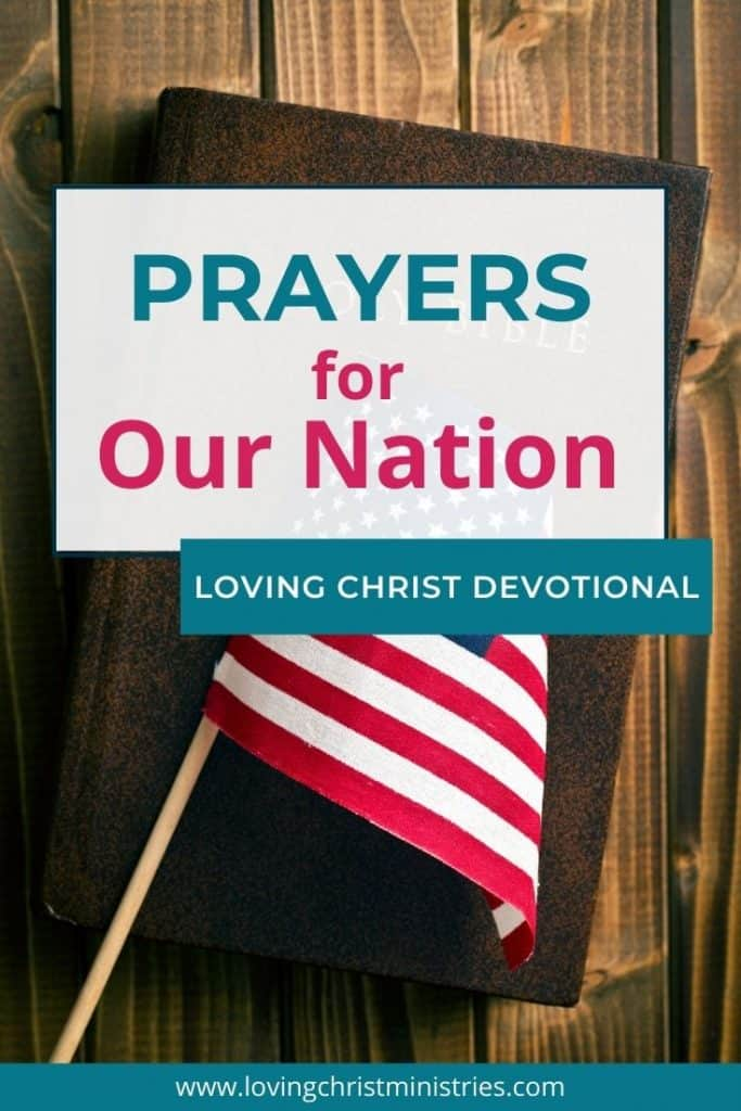 image of Bible with American flag on top and title text overlay - Prayers for Our Nation