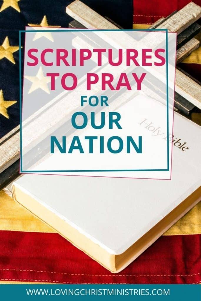 image of Bible and cross laying on an American flag with title text overlay - Prayers for Our Nation