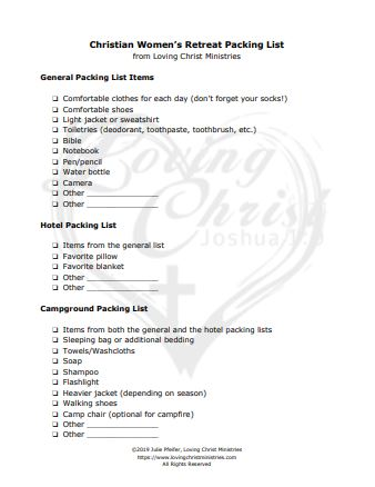 image of Retreat Packing List