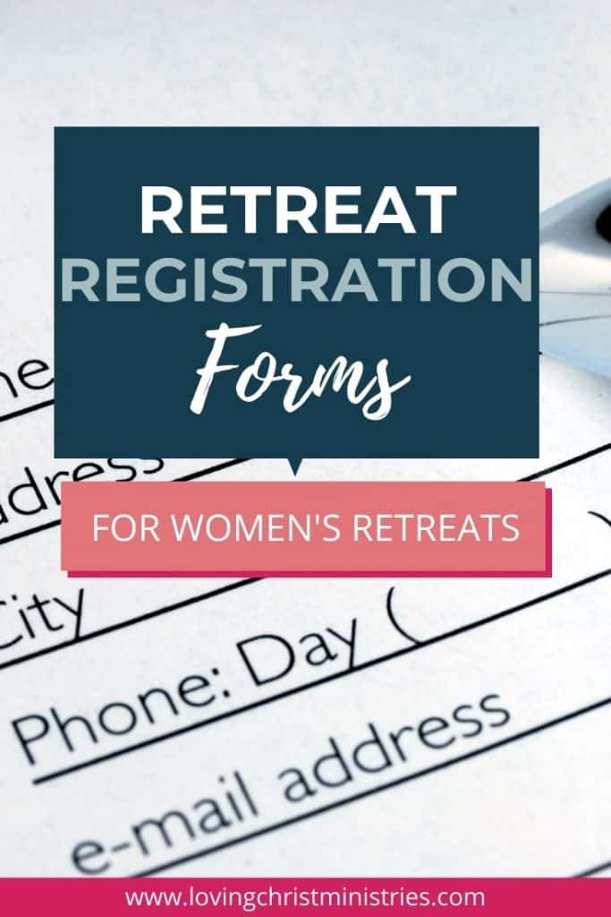 image of registration form with title text overlay - Christian Women's Retreat Registration Forms