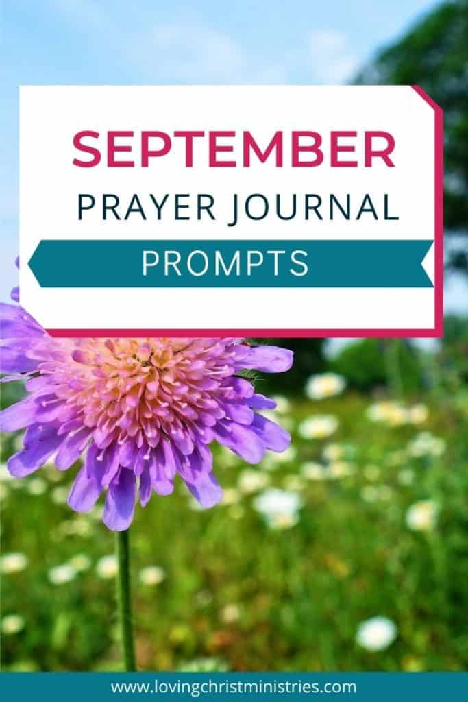 image of purple flower with title text overlay - September Prayer Journal Prompts