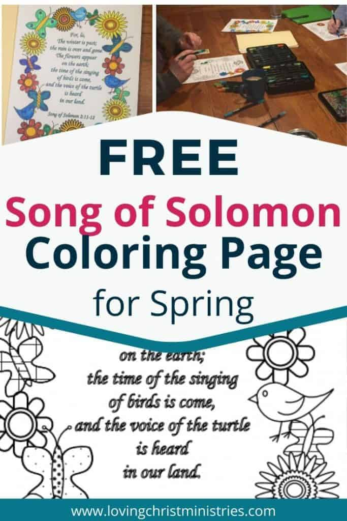 collage of colored in and black and white Song of Solomon Bible Verse Spring Coloring Page