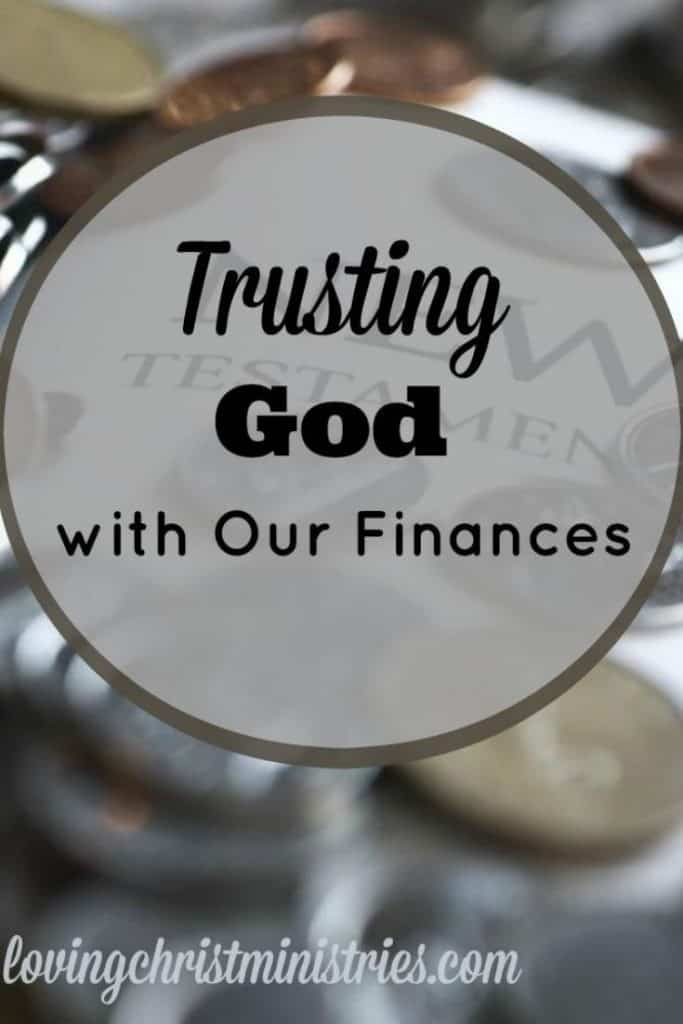 image of money on New Testament page of Bible with title text overlay - Trusting God with Your Finances