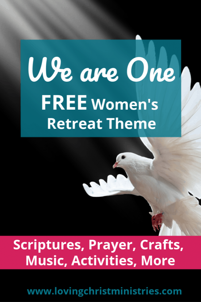 Flying white dove on black background with title text overlay - We are One Christian Women's Retreat Theme.